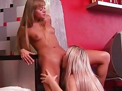 Cute teens having lesbian fun
