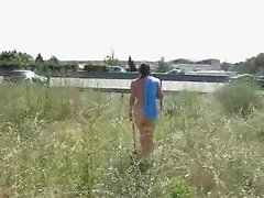 Slut wife totally nude near the motorway ! Amateur