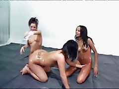 Oily Lesbians Playing With Kream