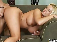Blonde Milfs ball licking blowjob action
