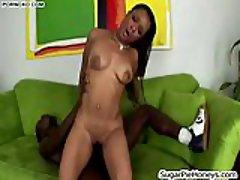 Ebony cunt with hot deep creampie