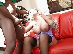 Heavy chested blonde with tattooes in high heels takes on black sussage