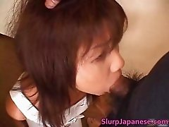Super hot asian babe slurping cum off part3