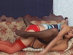 Blonde shemale in red garter belt gets blowjob from her brunette friend