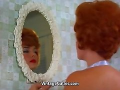 Redheaded Pornstar Takes a Hot Bath (1960s Vintage)