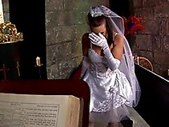 Tanya Cox, wearing a wedding dress, enjoys ardent doggystyle sex