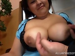 japanese brunette with natural tits gives hot tit fuck