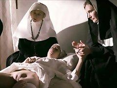 Lesbian nun masturbating and fingering