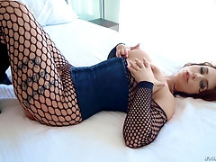 Two big black cocks take care of Ivy Labelle in her fishnets