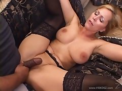 Nasty interracial MMF threesome along long haired blonde Nicole Taylor