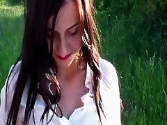 Hot German brunette sucking a cock and fucking outdoors