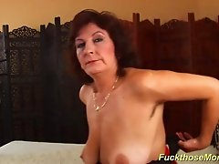 Horny czech extreme hairy mom with oiled big natural boobs enjoys a massive cumshot
