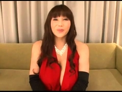 Huge breasted Asian bombshell in lingerie takes on two cocks