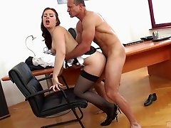 Babe gets ravished by a handsome guy during a job interview