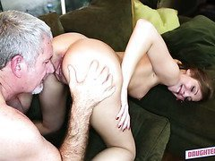 Grey haired horny stud fucks leggy small tittied bitch in various poses tough