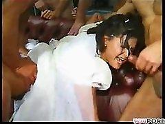 Slutty Brunette Bride Gets Gangbanged In Front Of Her Cuckold Husband