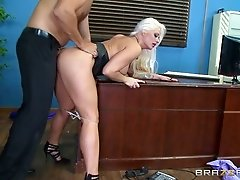 Mesmerizing blond secretary had steamy oral fuck with her boss in the office