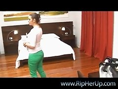 Sexy Laura takes down her green pants and gets fingered with passion