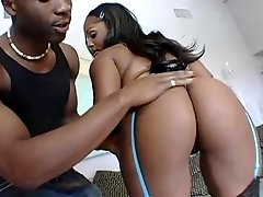 Ebony Camrie Foxxx bounces her ass on a cock and swallows cum