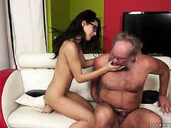 Kinky old guy likes to be gently fingered by hot girl