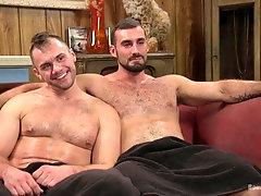 Blindfolded mature gay dude rides his man's big hard dick