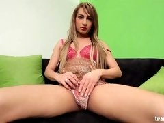 Cute shemale vixen is ready to play with her dick