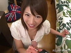 Talented Japanese lips give a beautiful POV blowjob
