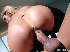 Slender inked slut Sarah Jessie pussy pounded hardcore and swallows