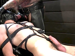 Kinky gay fetish fuck in the dungeon with hairy mature guys