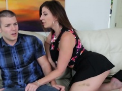 Busty brunette step mom slurps step son big dick