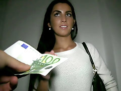 Beautiful slim brunette accepts cash for sex deal
