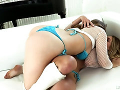 Gorgeous babes are dildo fucking and licking each others anal holes