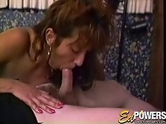 Cock sucking bitch in pantyhose receives a facial cumshot