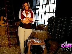 Busty blonde mom masturbates passionately in a warehouse