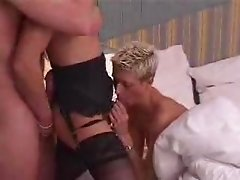 Mature Couple sharing Shemale's huge dick in their holes