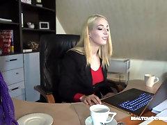 Naughty blonde secretary Liz Rainbow takes off her panties for a fuck