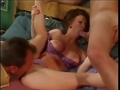 Oversexed milf goes wild in a company of two well endowed studs