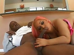 Whorable pink haired nympho bows above long BBC and gives nice blowjob