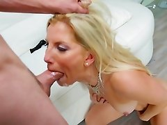 Blonde mom throats step son in crazy modes