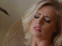 Emotional buxom blondie Alexa Johnson spreads legs wide and tickles her fancy