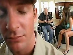 Busty Wife fucks the cable guy while husband watches in amazement