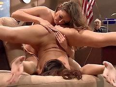 Prisoner lesbians Allie Haze and Katie Jordin lick each other in court