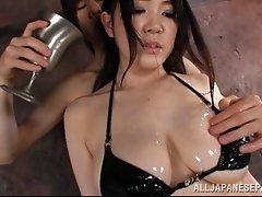 Sena Minami gets her big tits oiled up and her mouth fucked
