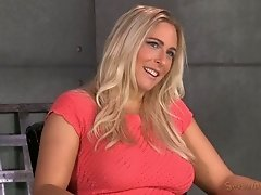 Buxom blond Angel Allwood got mouth fucked while being bound