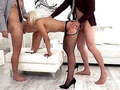 blonde secretary enjoys two men fucking her hard