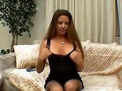 Slutty babe wearing fishnet dildo fucking her pussy and fingering
