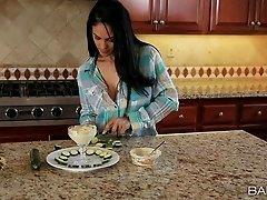 Astonishing sex in the kitchen with brunette hottie Jasmine Caro