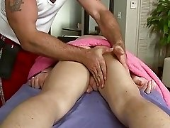 Massaging his taut stomach and huge rod