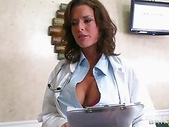 Slutty doctor keeps her stockings on as she fucks a patient