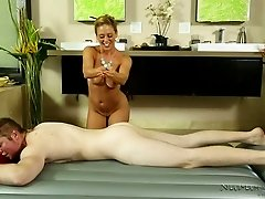 Busty fair haired masseur Cherie DeVille seduced brutal guy in massage parlor
